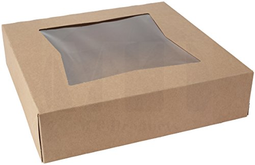 8 inches Length x 8 inches Width x 2 1/2 inches Height Kraft Paperboard Auto-Popup Window Pie/Bakery Box by MT Products (25 Pieces)