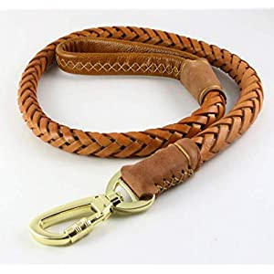 OCSOSO Durable 3.6ft Long Brown Genuine Leather Braided Pet Dogs Leash Training Lead for Large Dogs with Soft Handle 1Inch Wide 10