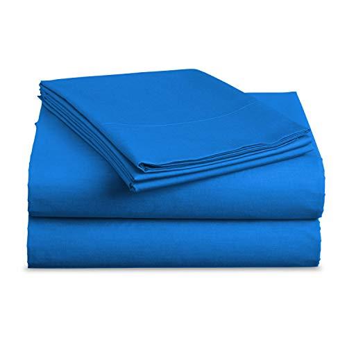 Luxe Bedding Sets Microfiber Twin Sheet Set 3 Piece Bed Sheets Deep Pocket Fitted Sheet Flat Sheet Pillow Case Twin Size Blue