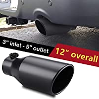 "Black Bolt on Diesel Exhaust Tip 3/"" Inlet 4/"" Outlet 12/"" Length Stainless Steel"
