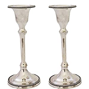 Christmas Tablescape Decor - Elegant pair of sterling silver beaded Talik taper candlestick holders by Hadad Bros.