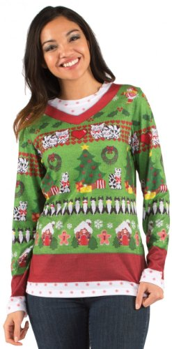 Women's Ugly Xmas Sweater with Cats