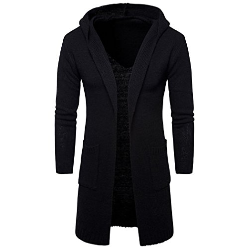 Ninasill Mens Autumn And Winter Slim Fit Hooded knit Sweater Fashion Cardigan Long Trench Coat Jacket (XL, Black)