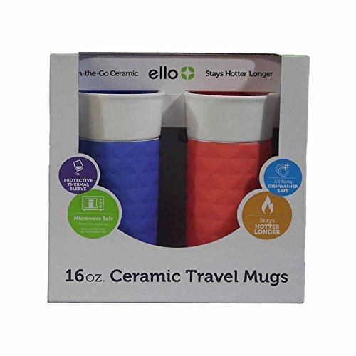 Ello On-the-Go 16oz Ceramic Travel Mugs, Denim & Coral (2 Pack) (16 Oz Ceramic Travel Mug With Lid)