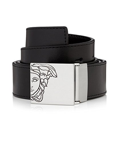 VERSACE COLLECTION Men's Black Leather Medusa Logo Buckle Adjustable Belt 226 - Versace Medusa Logo