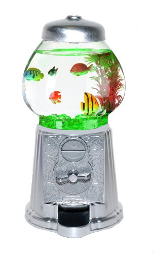 Silver gumball machine aquarium for Gumball fish tank
