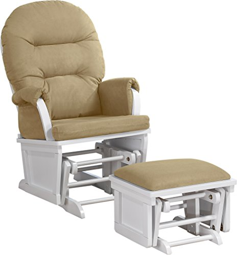 Shermag Contemporary Style Glider Rocker and Ottoman, White with Pearl Beige by Shermag
