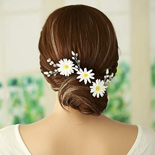 Aukmla Daisy Hair Pins Wedding Barrette Bridal Daisy Headpiece Daisy Leafs Hair Clip White flower Hair Clip Floral hairpiece Bridesmaids Gift for Women and -
