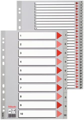Rexel Divisori numerici 1-12 in polipropilene tasti grigi f.to A4
