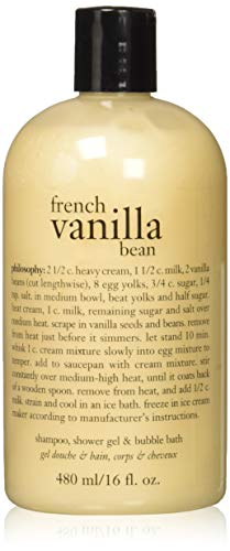 - Philosophy French Vanilla Bean 16oz 3 in 1. (Shampoo, Shower Gel and Bubble Bath)