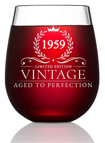 60th Birthday Gifts for Women and Men Turning 60 Years Old - 15 oz. Vintage 1959 Wine Glass - Funny Sixtieth Gift Ideas, Party Decorations and Supplies for Him or Her, Husband, Wife, Mom, Dad ()