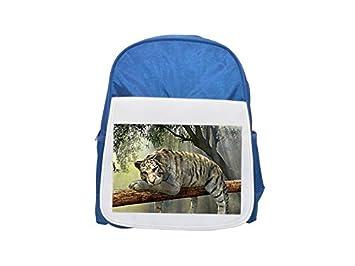 Tiger, Animal, Jungle, Rainforest mochila azul infantil estampada, mochilas lindas, mochilas