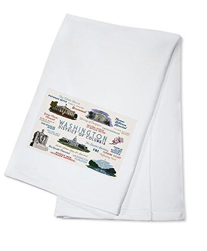 Washington, DC - Typography and Icons (100% Cotton Kitchen Towel)