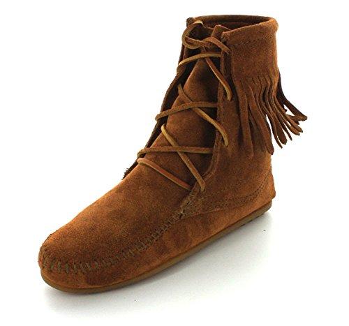 Ankle Hi Tramper Boot (Minnetonka Womens Tramper Ankle Hi Brown Suede Moccasin - 7)