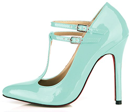 the nightclubs varnished high spring black shoes Light Cyan new heel Women leather red the temperament Pearl shoes shoes and 0xPwtOvq