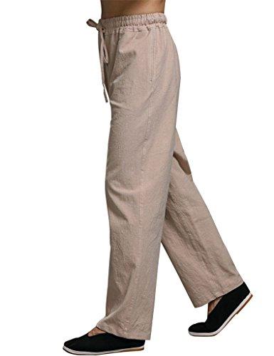 Élastique Hommes Pantalons Youlee Beige Lin Deep Coton Taille qREUU1Ww7
