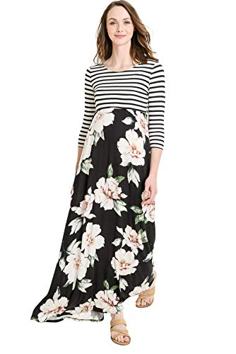 Hello MIZ Women's Floral Color Block Stripe Maxi Maternity Dress - Made in USA (Black/Ivory Flower, L) by Hello MIZ