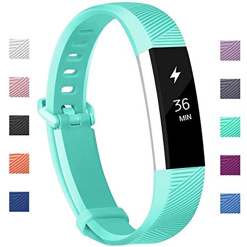 Fundro Compatible for Fitbit Alta HR Bands, Newest Sport Replacement Wristbands with Secure Metal Buckle for Fitbit Alta HR/Fitbit Alta (C# 1-Pack Teal, Small (6.2-7.1))