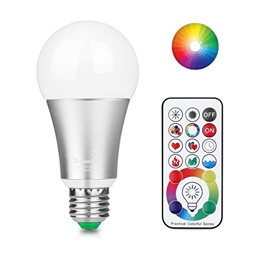 ([Updated] Lemonbest 10W E27 Led Colour Changing Light Bulb with Remote Control, 120 Different Colour Choices, RGB+Daylight(6500K) Dimmable, Timming, Dual Memory DIY Collection Function, AC 85-265V)