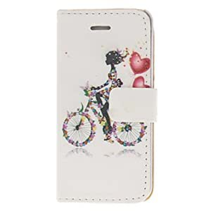 Mini - Flowery Bicycle and Girl Pattern PU Full Body Case with Stand for iPhone 5/5S