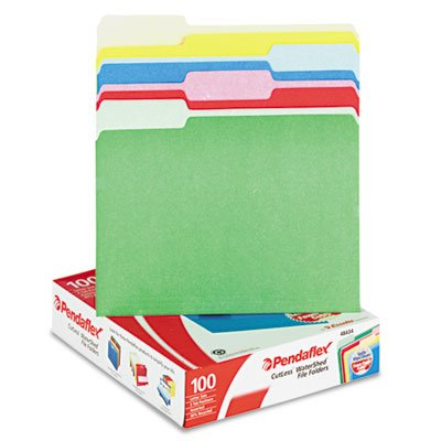 0.33 Assorted Tab (Pendaflex 48434 CutLess-WaterShed File Folders, .33 Cut Top Tab, Letter, Assorted, 100-Box )