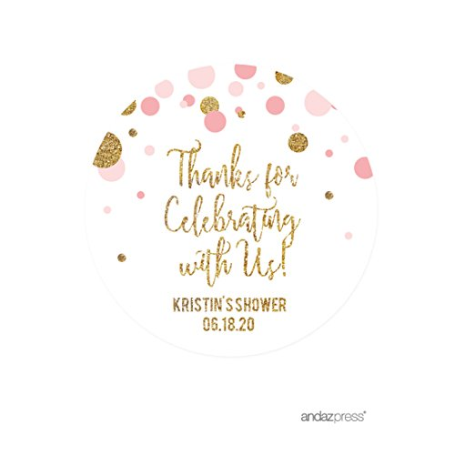 Andaz Press Blush Pink Gold Glitter Girl Baby Shower Party Collection, Personalized Round Circle Label Stickers, Thank You for Celebrating With Us, 40-Pack, Custom Name (Girl Glitter Stickers)