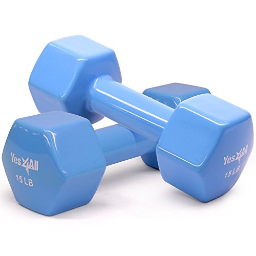 Yes4All Vinyl Coated Dumbbells – PVC Hand Weights for Total Body Workout (Set of 2, Blue, 15 lbs)