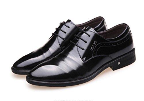 Men's Linyi En Dress Pour Chaussures Pointed British Business Dentelle Black Hommes Mariage Shoes De xYxHw7r