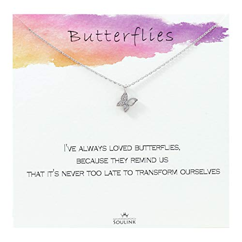 Soulink Never Too Late to Transform Butterfly Necklace (Silver) - Butterfly Necklace Rainbow