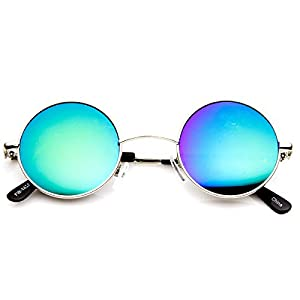 zeroUV - Lennon Style Small Round Color Mirrored Lens Circle Sunglasses
