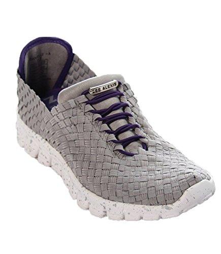 ZEEALEXIS Frauen Danielle Sneaker Grau lila gewebt Sneaker