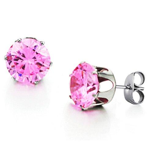 (MoAndy Cubic Zirconia Stud Earrings for Women Girls Rose Post Earrings, with Jewelry Pouch)
