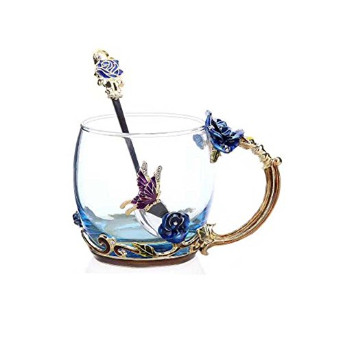 FENHAR Luxury Upgrade Enamel Glass Of Rose Bowl Heat-Resistant Crystal Glass Coffee Cup Couples Creative Gift Flower Tea Cup (Blue rose short)
