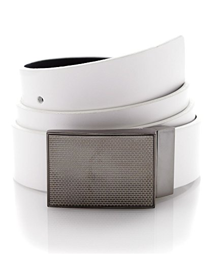 Alfani Mens Leather Reversible Casual Belt White ()