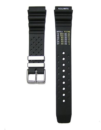 20mm Timewheel Black Italian Rubber Watch Band Strap Fits Hyper Aqualand Duplex Promaster ()