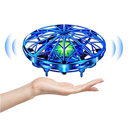 KizmyeeLer Mini Drone Flying Toy Hand Operated Drones for Kids or Adults -UFO Drone Helicopter, Easy Indoor Outdoor Flying Ball Drone Toys for Boys Girls (Blue) (Classic)