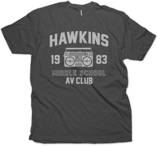 Daft Threads ~ Hawkins Middle School A.V. Club Stranger T-Shirt & Things Sticker Men's Charcoal (Medium)