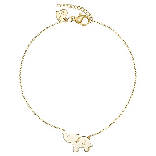 Gold Initial Elephant Anklets for Women-Dainty 14K Gold Filled Letter J Charm Tiny Cute Animal Lucky Elephant Friendship Foot Ankle Bracelet Jewelry