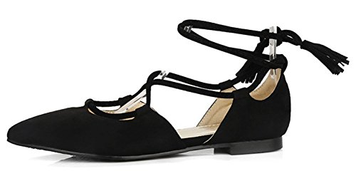 IDIFU Womens Sweet Pointed Toe Self Tie Faux Suede Flats Shoes Black TQNFKq