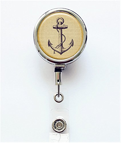 RhyNSky Ship'S Anchor Business ID Card Name Tag Custom Retractable Badge Holder Reel with Alligator Clip, Silvery, FS530