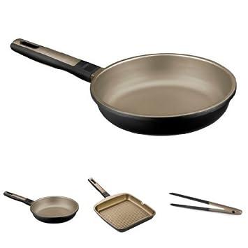 Bra Terra - Lote 2 sartenes, 20 cm y 24 cm + Grill Rayas, 28 cm + Bra Air - Pinzas: Amazon.es: Hogar