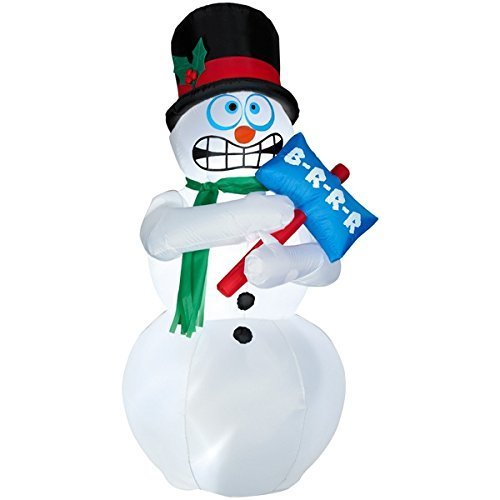 Brrr Bears - Animated Shivering Snowman Inflatable - 6 Feet Tall - Shivers and Shakes - Gemmy