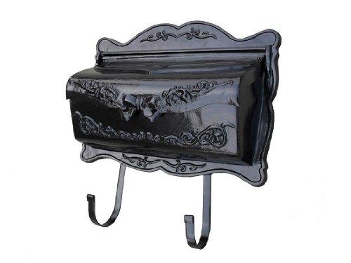 [NACH jh-13B Bowtie Design Aluminum Mailbox with Newspaper Holder, Black] (Black Newspaper Holder)