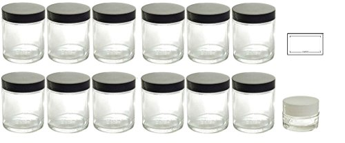 Straight Sided Glass (Clear Thick Glass Straight Sided Jars - 4 oz / 120 ml (12 Pack) + Labels + Small Glass Balm Jar)