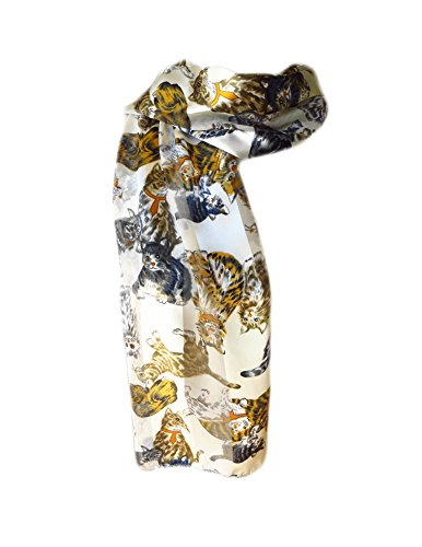 New Company Womens Tabby Tiger Cats Scarf - White - One (Tiger Tabby Cat)
