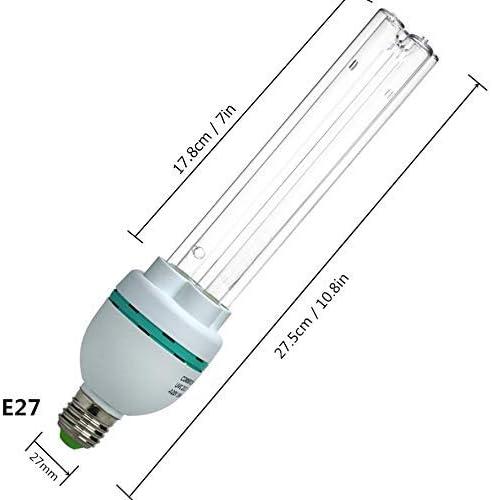 Bombilla de luz germicida UV L/ámpara de casquillo roscado E27 220V con vataje autom/ático de 36 vatios UVC con bombilla de reemplazo de ozono