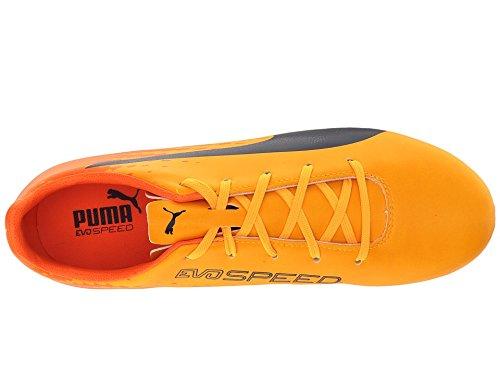 PUMA Evospeed 17.5 FG Jr Skate Shoe, Ultra Yellow-Peacoat-Orange Clown Fish, 4.5 M US Big Kid