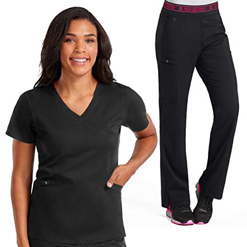 Med Couture New Touch Women's Mock Wrap Scrub Top & Yoga 2 Cargo Pocket Pant Set