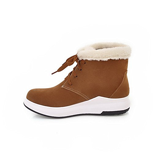 Fringed Travel Snow Womens Boots Snow Suede Boots Yellow AdeeSu Bandage SXC02512 gxtSXqpww