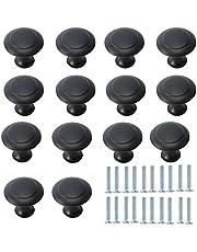 DBAILY 30 stuks mat-zwarte ladeknoppen meubelgreep met schroeven ladegrepen commode-knoppen set meubelgreep voor kast lade keuken